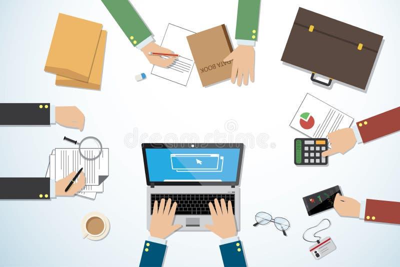 Escritorio del negocio de la visión superior con las manos y concepto de las herramientas, del trabajo en equipo y del negocio libre illustration