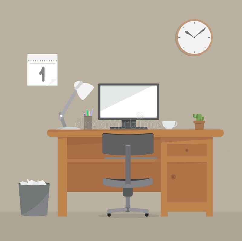 Escritorio del ordenador, lugar de trabajo libre illustration