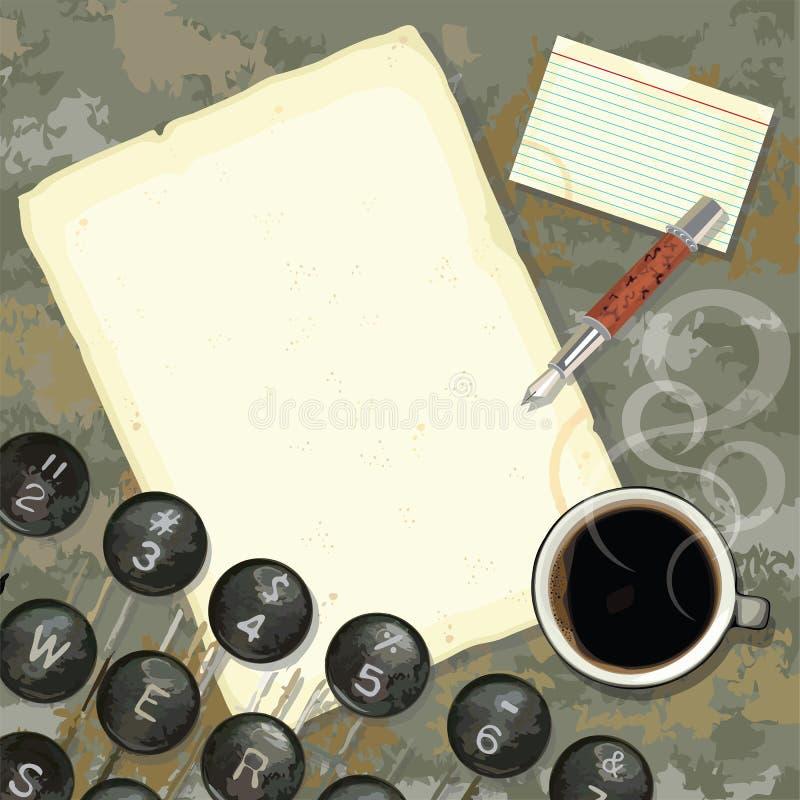 Escritorio del programa de escritura con la máquina de escribir y el café ilustración del vector