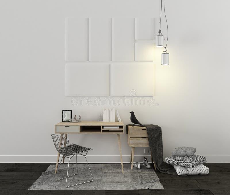 Escritorio escandinavo con la alfombra, la silla y las decoraciones stock de ilustración