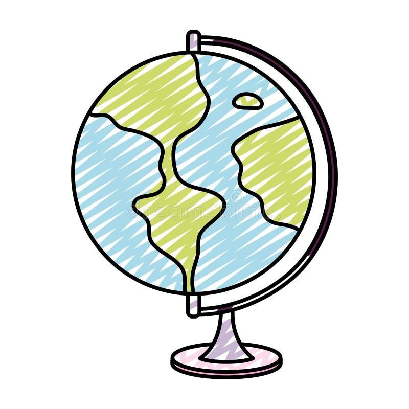 Escritorio global del mapa del planeta de la tierra del garabato stock de ilustración