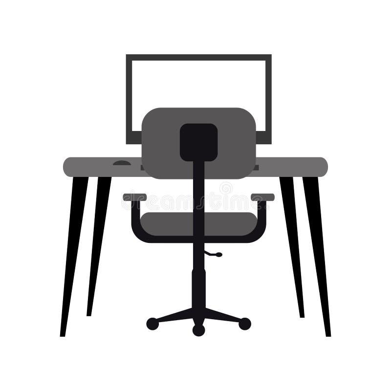 Escritorio moderno de la butaca de la PC del lugar de trabajo monocromático ilustración del vector