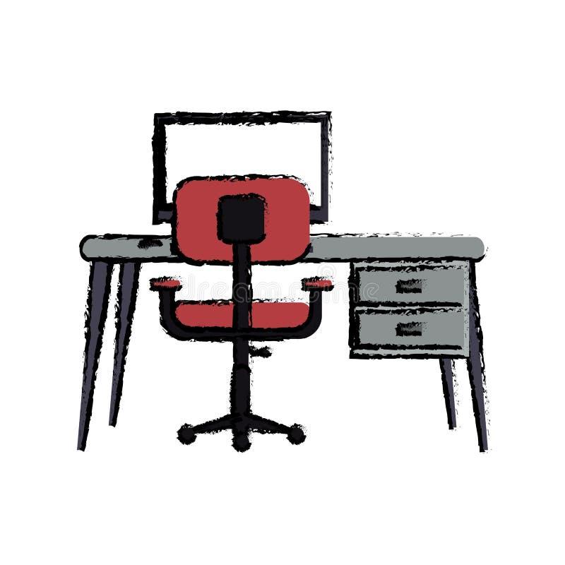 Escritorio moderno de la butaca del rosa de la PC del lugar de trabajo de la historieta stock de ilustración