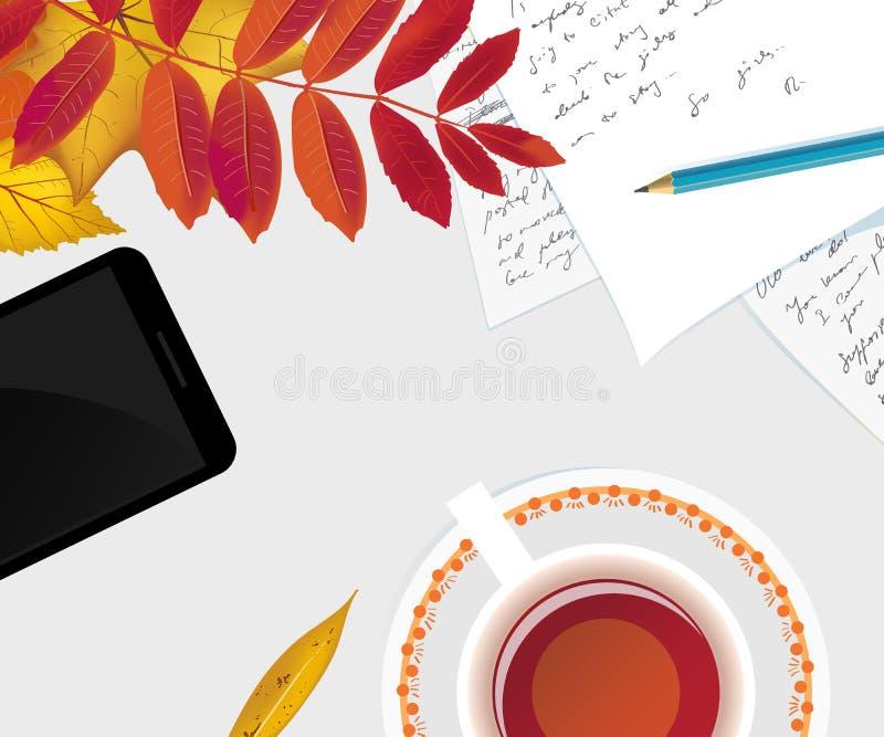 Escritorio plano del espacio de trabajo de la endecha con follaje del otoño stock de ilustración