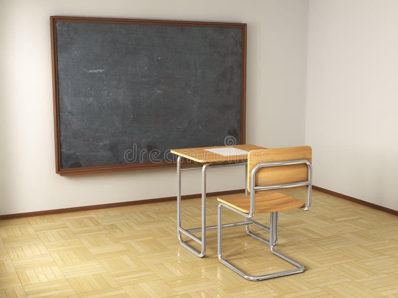 Escritorio y silla de la escuela ilustración del vector