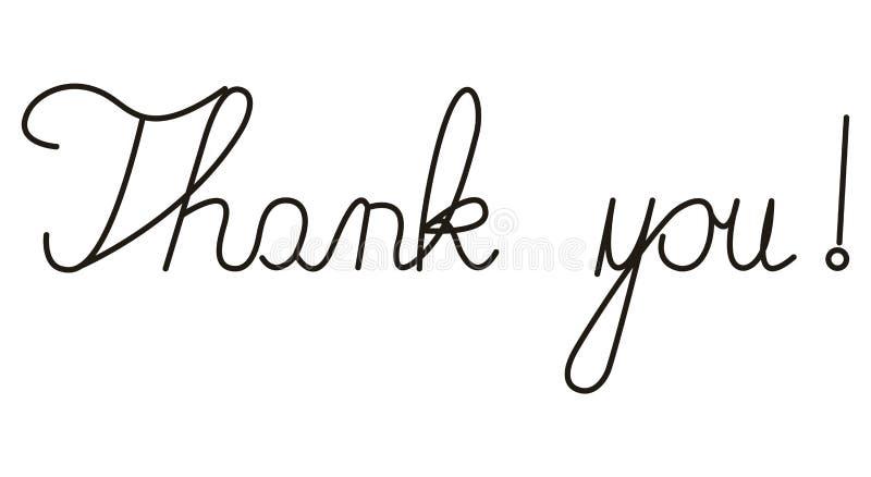 Escritos à mão simples agradecem-lhe ilustração do vetor