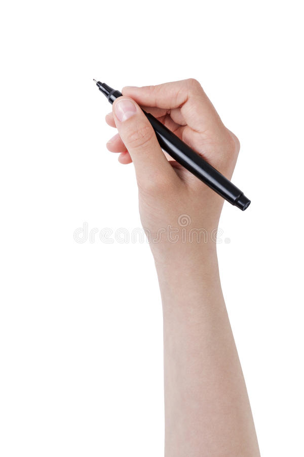 Escritura adolescente femenina de la mano algo con la pluma o el marcador imagenes de archivo