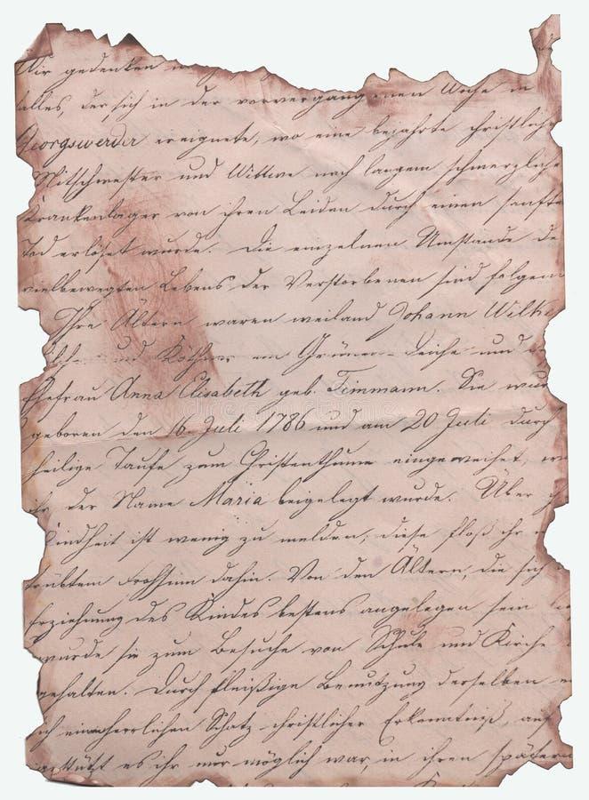 Escritura antigua escrita a mano en papel sepia fotografía de archivo