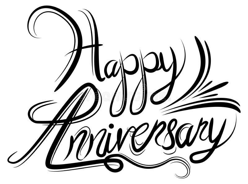 Escritura blanca negra elegante de la caligrafía del aniversario feliz ilustración del vector