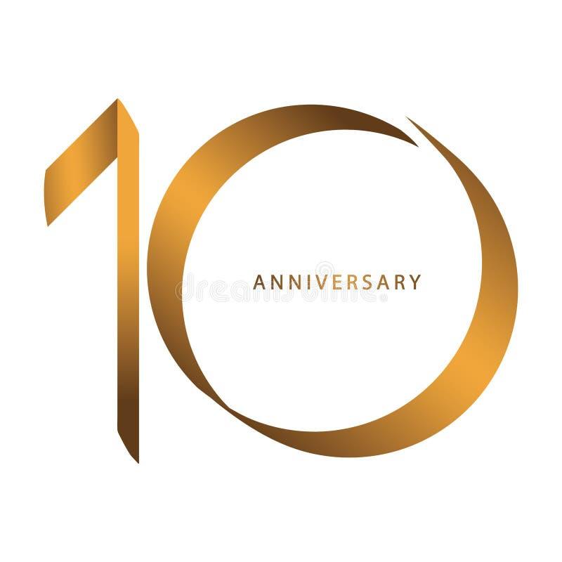 Escritura, celebrando, aniversario del 10mo aniversario del año del número stock de ilustración