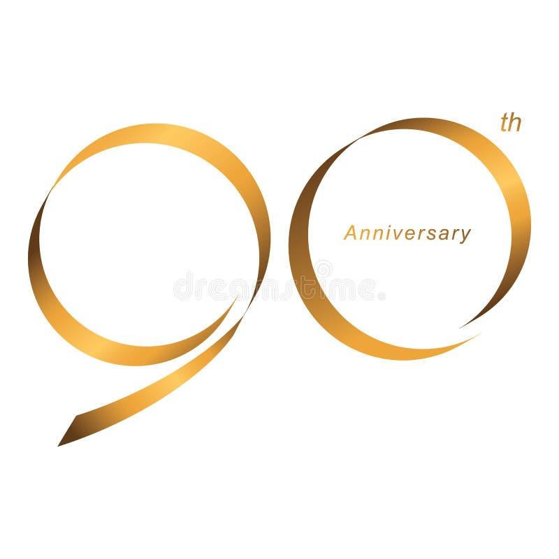 Escritura, celebrando, aniversario del 90.o aniversario del año del número ilustración del vector