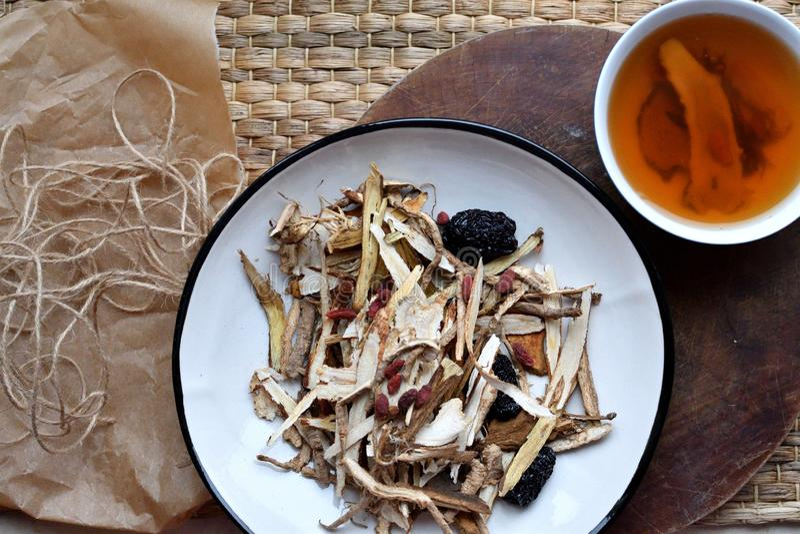 Escritura china de la medicina tradicional Visión lateral y superior fotografía de archivo libre de regalías