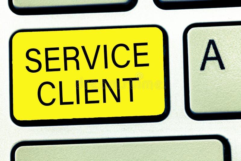 Escritura conceptual de la mano que muestra al cliente del servicio Texto de la foto del negocio que se ocupa de la satisfacción  imagen de archivo