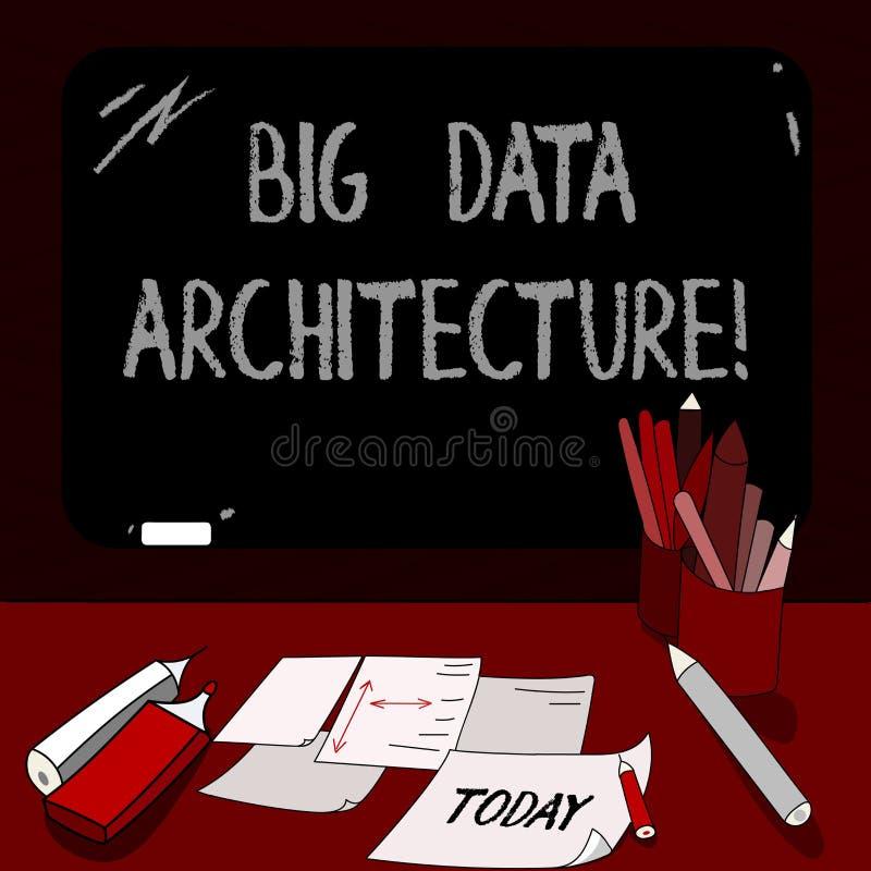 Escritura conceptual de la mano que muestra la arquitectura de Big Data Exhibición de la foto del negocio diseñada para manejar e ilustración del vector