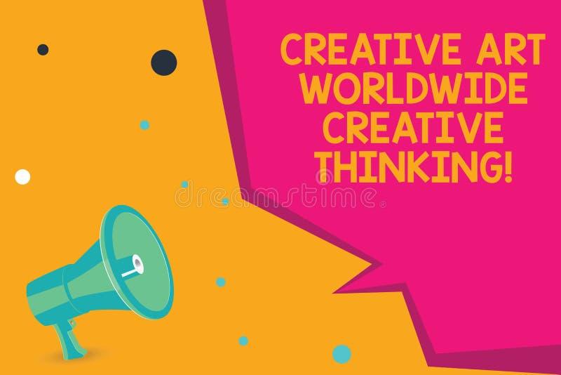 Escritura conceptual de la mano que muestra a Art Worldwide Creative Thinking creativo Diseño moderno global de la creatividad de fotos de archivo