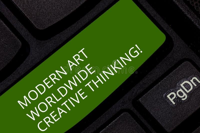 Escritura conceptual de la mano que muestra a Art Worldwide Creative Thinking moderno Creatividad de exhibición de la foto del ne imagen de archivo