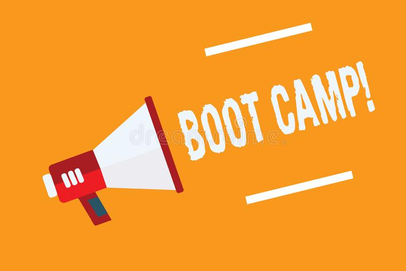 Escritura conceptual de la mano que muestra Boot Camp Campo de entrenamiento militar del texto de la foto del negocio para la apt ilustración del vector