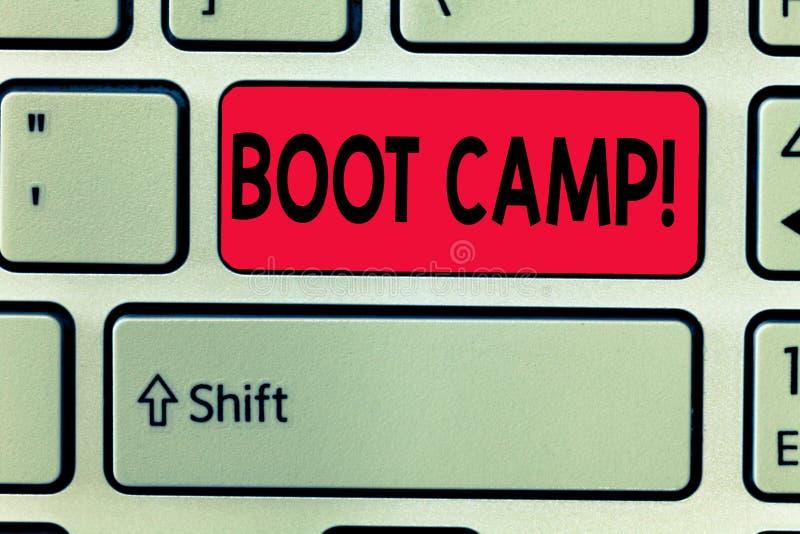 Escritura conceptual de la mano que muestra Boot Camp Campo de entrenamiento militar del texto de la foto del negocio para la dis stock de ilustración
