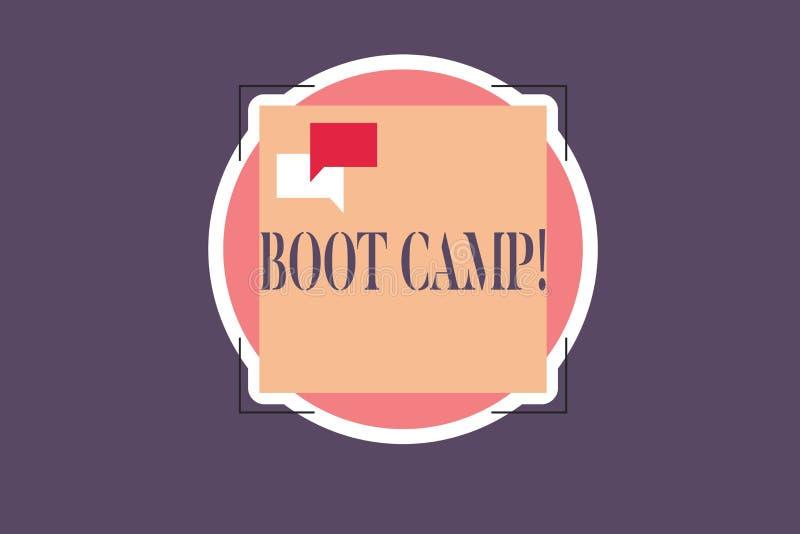 Escritura conceptual de la mano que muestra Boot Camp Campo de entrenamiento militar del texto de la foto del negocio para la dis ilustración del vector