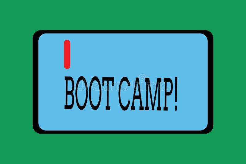 Escritura conceptual de la mano que muestra Boot Camp Foto del negocio que muestra el campo de entrenamiento militar para los nue libre illustration