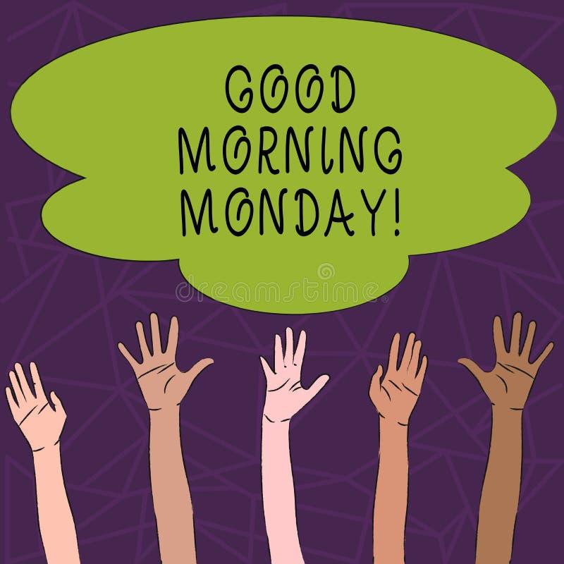 Escritura conceptual de la mano que muestra la buena mañana lunes Desayuno enérgico de la positividad feliz del texto de la foto  stock de ilustración