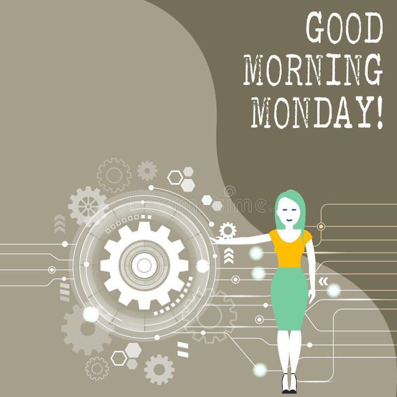 Escritura conceptual de la mano que muestra la buena mañana lunes Foto del negocio que muestra el desayuno enérgico de la positiv libre illustration