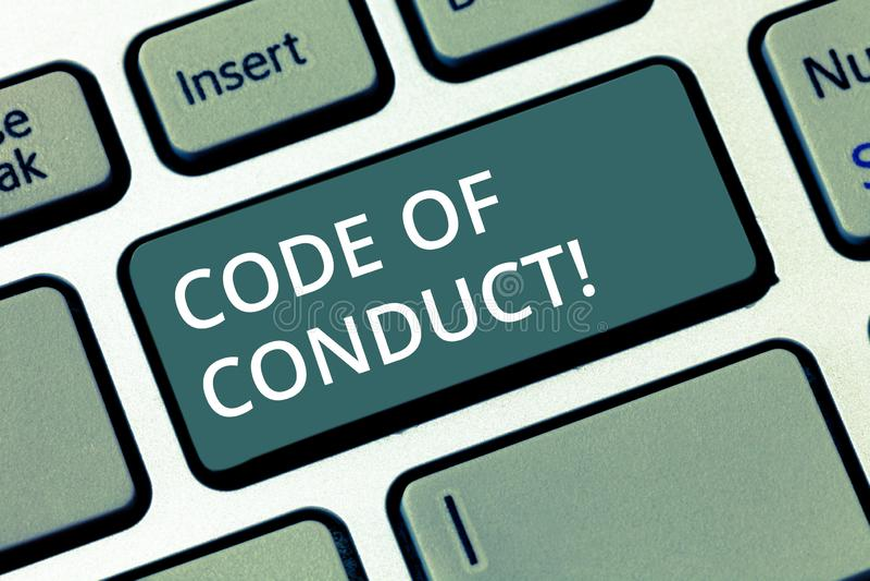Escritura conceptual de la mano que muestra código de conducta El texto de la foto del negocio sigue principios y los estándares  foto de archivo