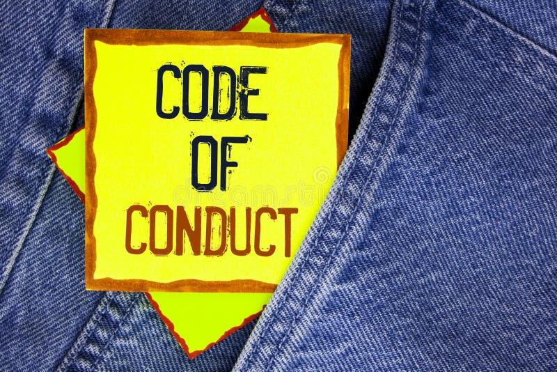 Escritura conceptual de la mano que muestra código de conducta La exhibición de la foto del negocio sigue principios y los estánd fotos de archivo