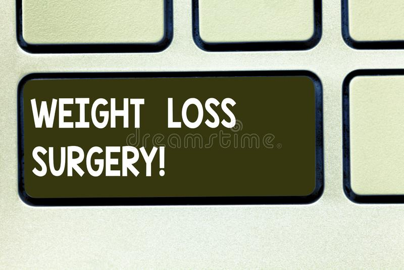Escritura conceptual de la mano que muestra cirugía de la pérdida de peso Texto de la foto del negocio hacer en los intestinos de fotografía de archivo libre de regalías