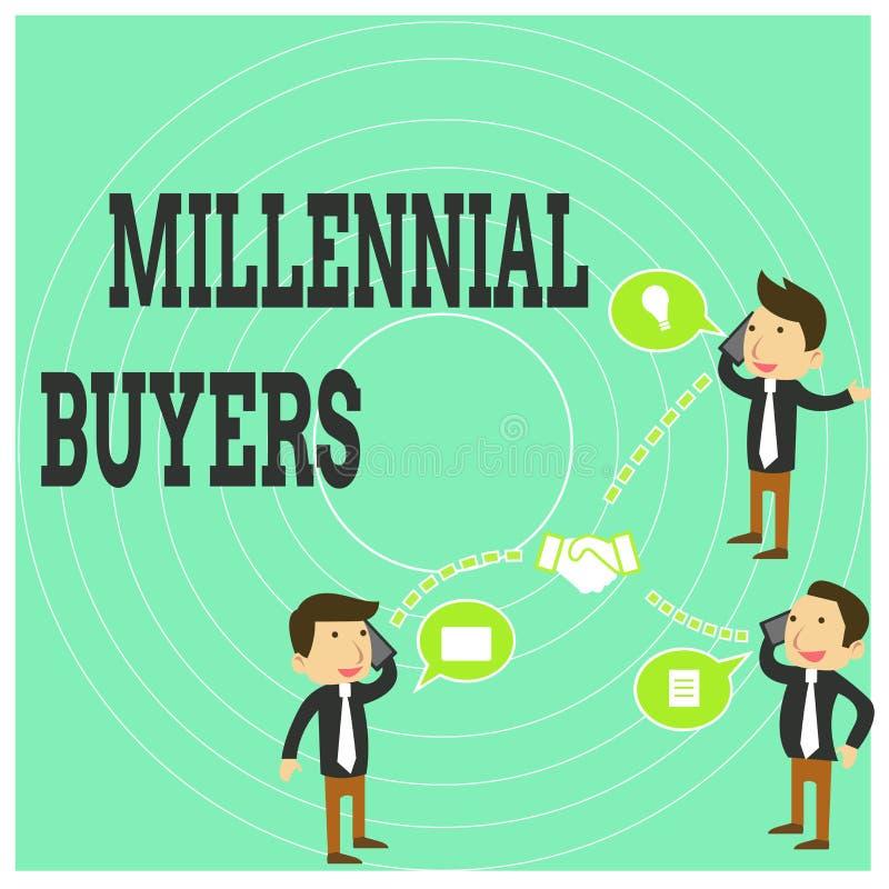 Escritura conceptual de la mano que muestra a compradores milenarios Tipo de texto de la foto del negocio de consumidores que est ilustración del vector