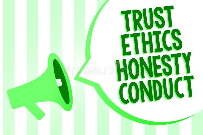 Escritura conceptual de la mano que muestra conducta de la honradez de los éticas de la confianza El texto de la foto del negocio stock de ilustración