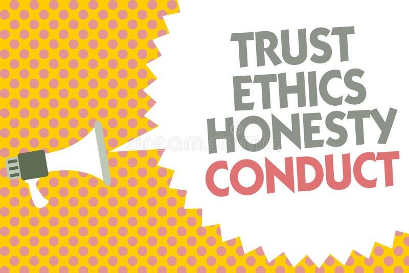 Escritura conceptual de la mano que muestra conducta de la honradez de los éticas de la confianza El texto de la foto del negocio ilustración del vector