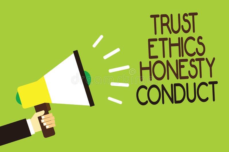 Escritura conceptual de la mano que muestra conducta de la honradez de los éticas de la confianza La exhibición de la foto del ne libre illustration