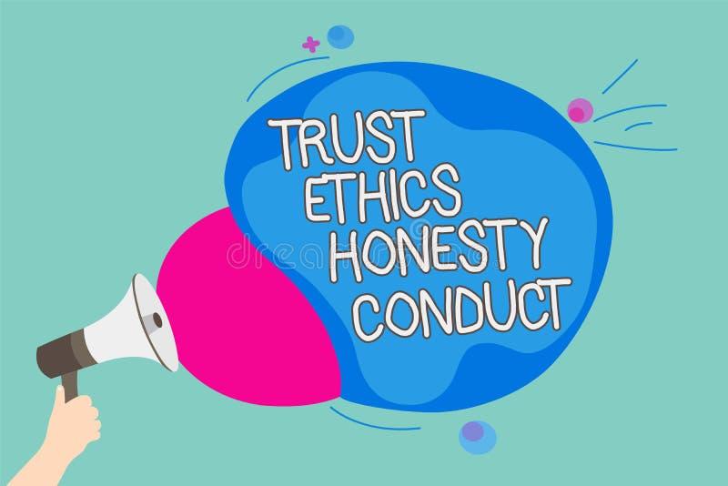 Escritura conceptual de la mano que muestra conducta de la honradez de los éticas de la confianza La exhibición de la foto del ne ilustración del vector
