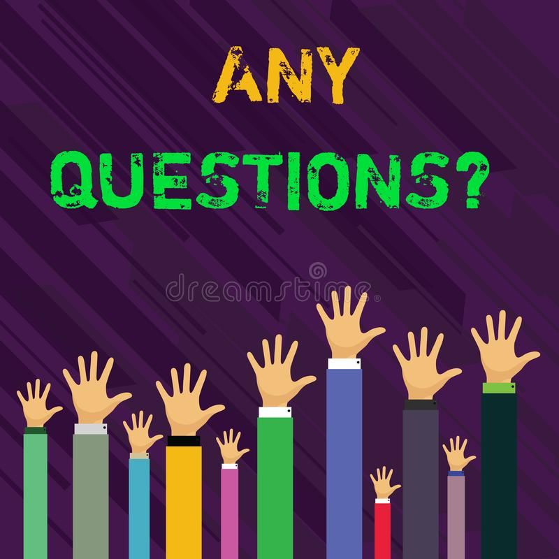 Escritura conceptual de la mano que muestra cualquier pregunta de las preguntas La foto del negocio que le muestra dice escribir  libre illustration