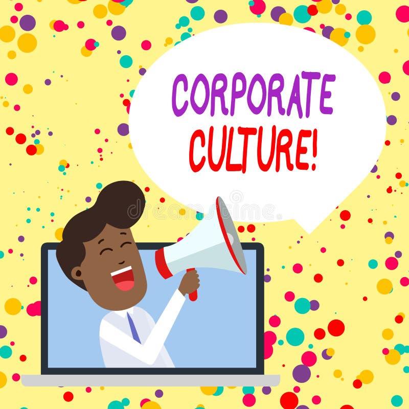 Escritura conceptual de la mano que muestra la cultura corporativa Creencias e ideas de exhibici?n de la foto del negocio que una stock de ilustración