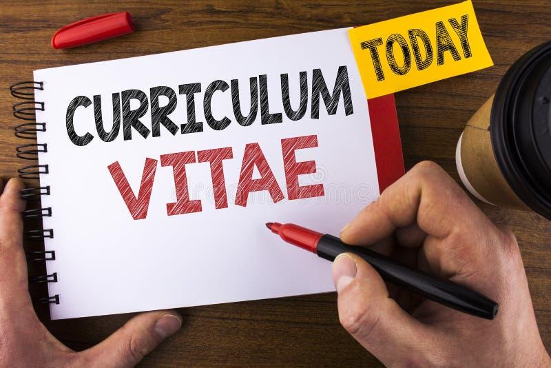 Escritura Conceptual De La Mano Que Muestra Curriculum Vitae ...