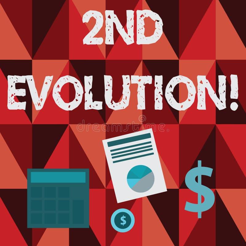 Escritura conceptual de la mano que muestra la 2da evolución Cambio del texto de la foto del negocio en las características hered libre illustration