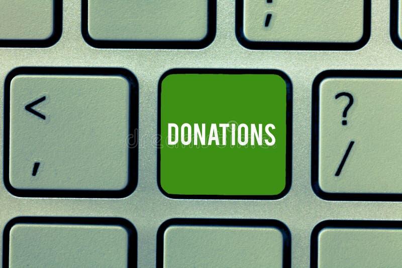 Escritura conceptual de la mano que muestra donaciones Foto del negocio que muestra algo que se da a la suma de la caridad especi imágenes de archivo libres de regalías