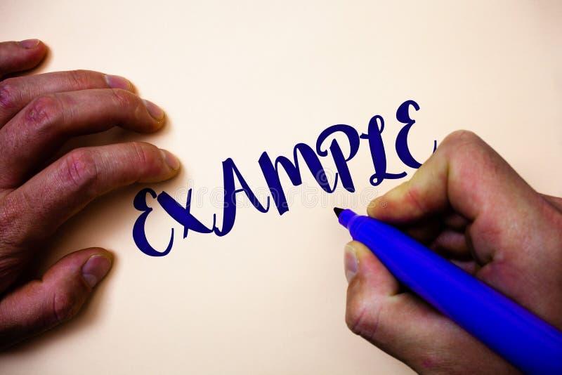Escritura conceptual de la mano que muestra ejemplo Modelo de exhibición de la muestra del ejemplo de la foto del negocio para se ilustración del vector