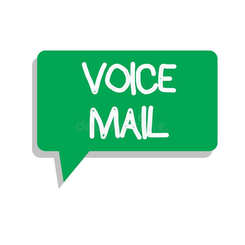 Escritura conceptual de la mano que muestra el correo de voz Sistema electrónico del texto de la foto del negocio que almacena me stock de ilustración