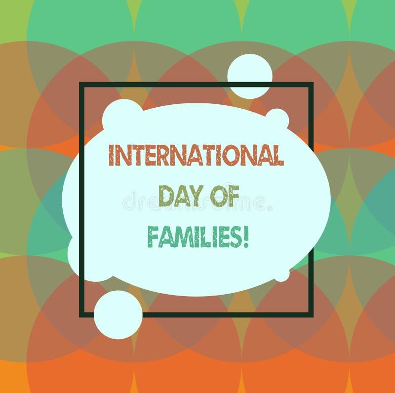 Escritura conceptual de la mano que muestra el día internacional de familias Celebración de la unidad del tiempo de la familia de libre illustration