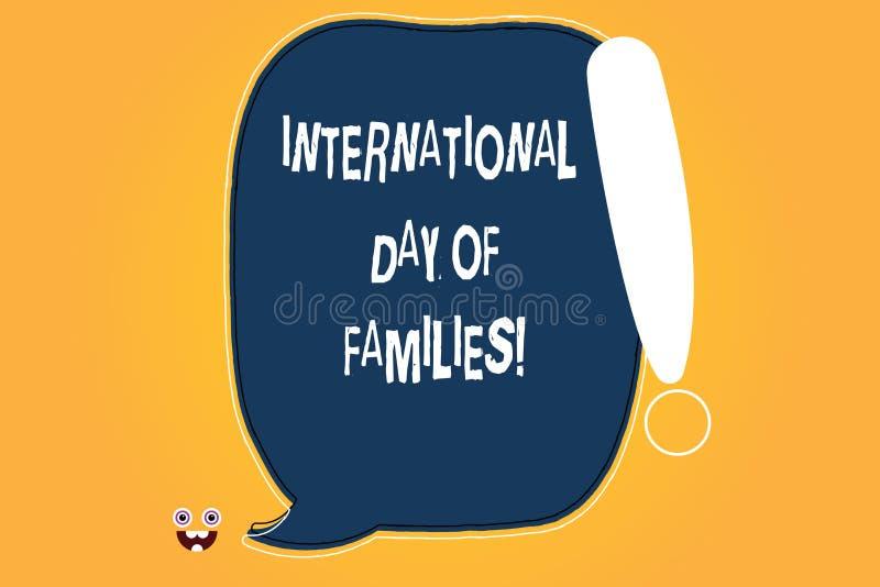 Escritura conceptual de la mano que muestra el día internacional de familias Celebración de la unidad del tiempo de la familia de stock de ilustración