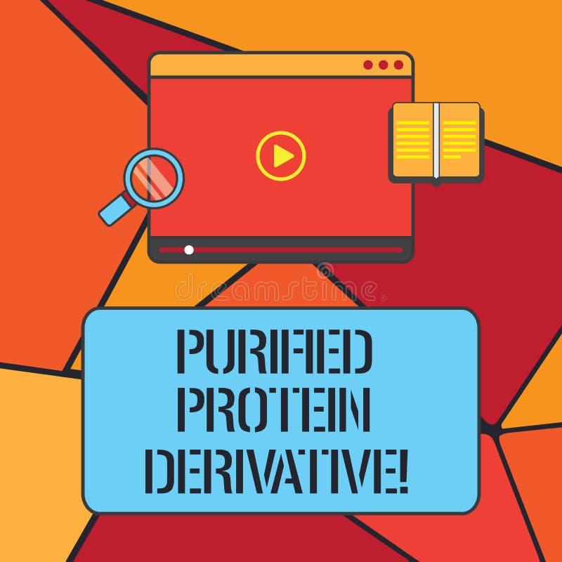 Escritura conceptual de la mano que muestra el derivado purificado de la proteína Foto del negocio que muestra el extracto de mic libre illustration
