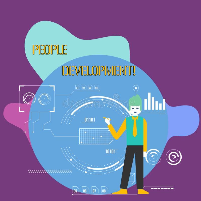 Escritura conceptual de la mano que muestra el desarrollo de la gente Empleados que animan de exhibición de la foto del negocio p libre illustration
