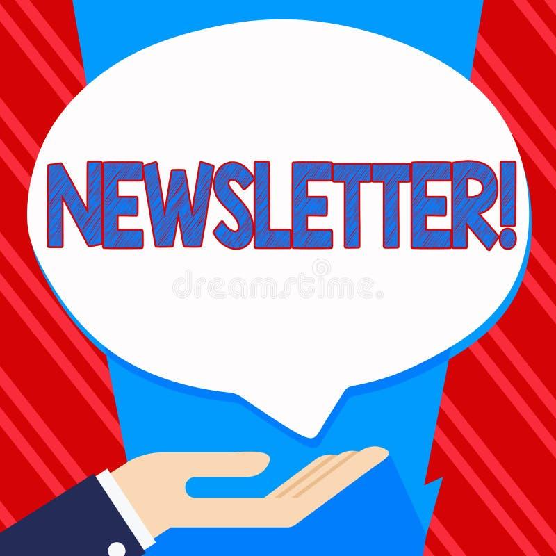 Escritura conceptual de la mano que muestra el hoja informativa Boletín del texto de la foto del negocio enviado periódicamente a libre illustration