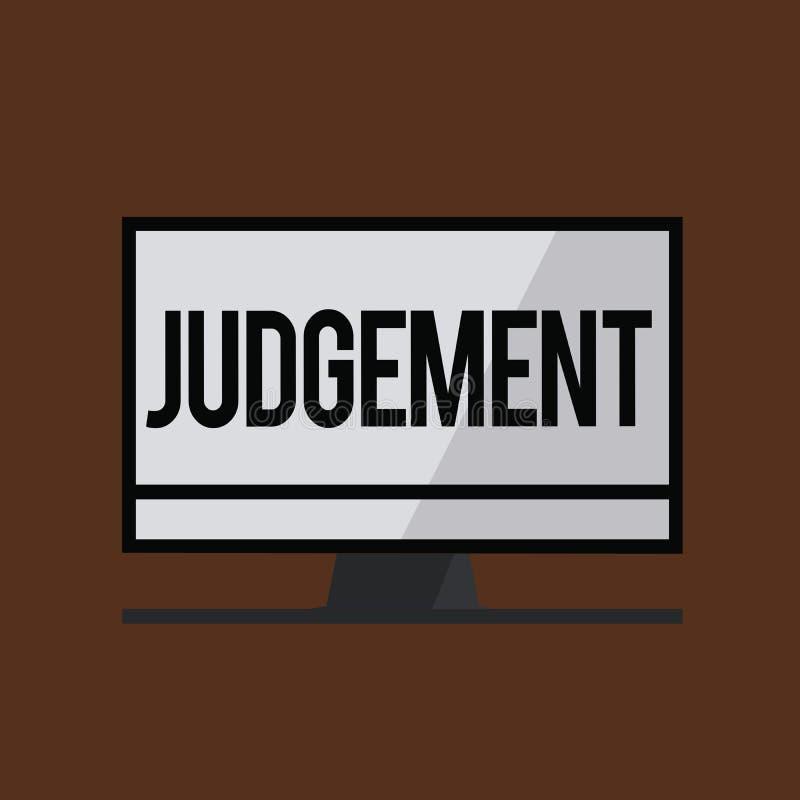 Escritura conceptual de la mano que muestra el juicio La capacidad de exhibición de la foto del negocio hace consideraba decision stock de ilustración