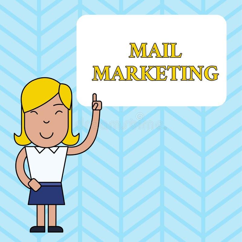 Escritura conceptual de la mano que muestra el m?rketing de correo El acto de exhibición de la foto del negocio del envío los men libre illustration
