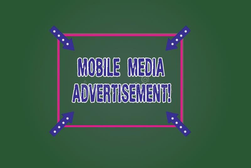 Escritura conceptual de la mano que muestra el medios anuncio móvil Publicidad de exhibición de la foto del negocio vía los teléf ilustración del vector