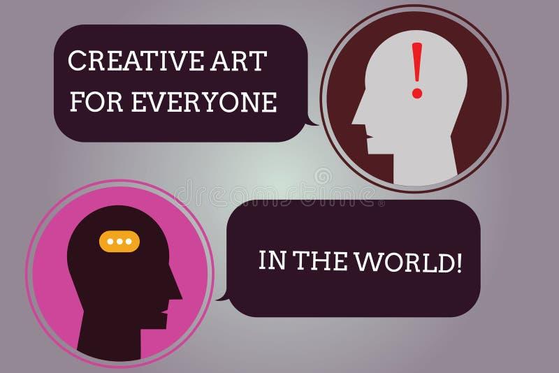 Escritura conceptual de la mano que muestra el mundo creativo de Art For Everyone In The El texto de la foto del negocio separó c stock de ilustración